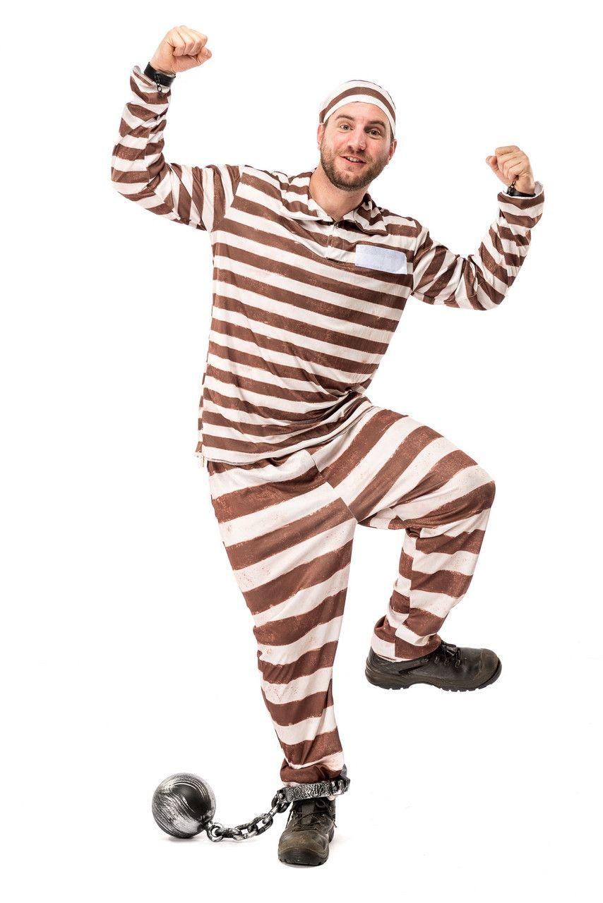 Bruin Gestreept Gevangenis Boef Misdadiger Alcatraz Kostuum Man