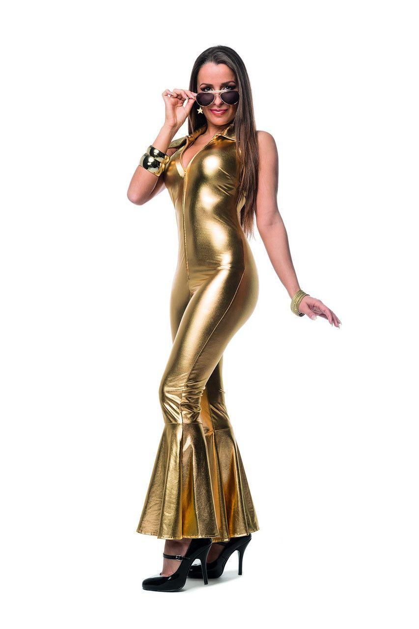 Catsuit Golden Disco Queen Vrouw Kostuum