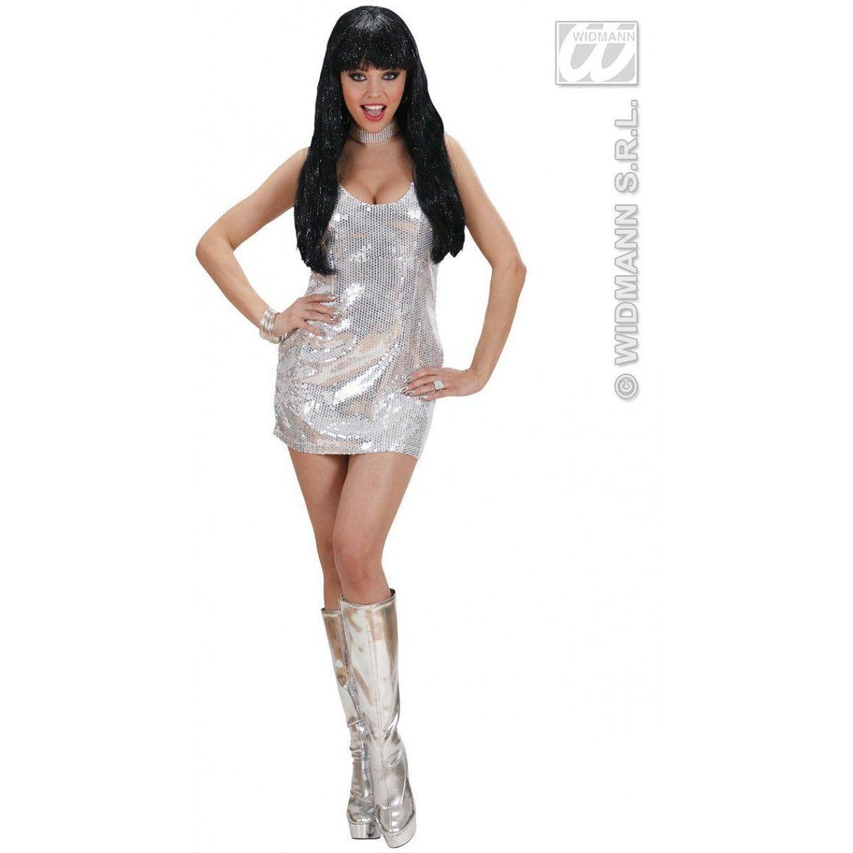 56c82835928188 Glimmende Pailletten Jurk Zilver Kostuum Vrouw     Feestkleding 365!