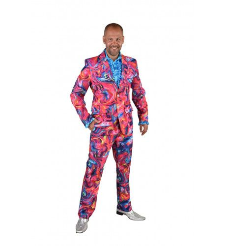 Roze Funky Cirkels Aquarel Man Kostuum