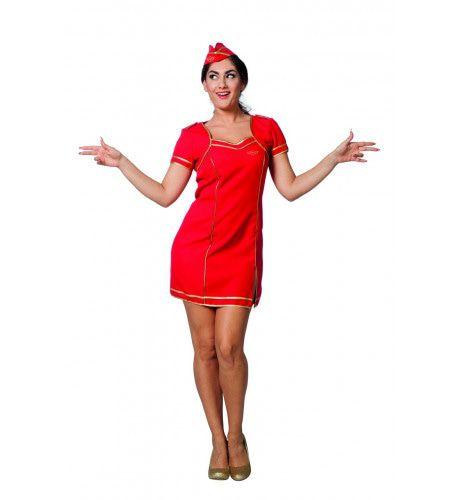 Stewardess Veiligheidsinstructie Safety First Vrouw Kostuum