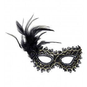 Oogmasker Zwart Met Roos En Veren
