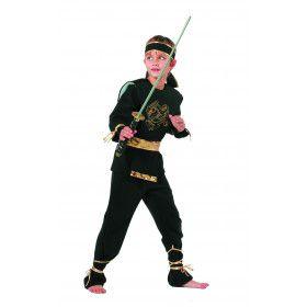 High Kick Goud Zwarte Ninja Dragon Jongen Kostuum