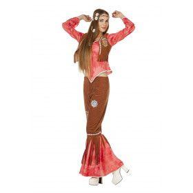 Rode Hippy Flower Power Ms Brown Vrouw Kostuum
