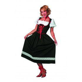 Lange Zwarte Keurige Oktoberfest Dirndl Vrouw Kostuum
