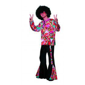 Roze Hippie Disco Popart Mellow Man Kostuum