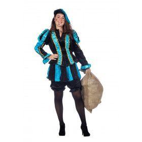 Aqua Gestreepte Piet Dames Vrouw Kostuum