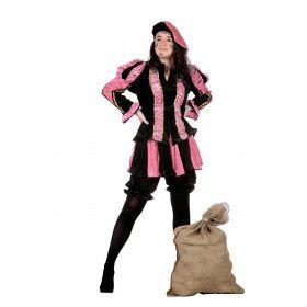 Roze Gestreepte Piet Dames Vrouw Kostuum