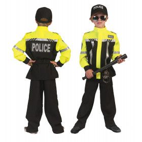 Zwart En Neon Geel Politie Kind Kostuum Jongen