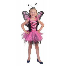 Roze Vlinder Villeintje Meisje Kostuum