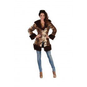 Tijgertastische Mantel Met Imitatie Bont Vrouw