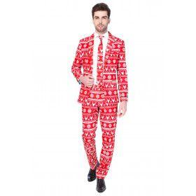 Rendier Christmas Red Nordic Opposuit Driedelig Rood Man Kostuum