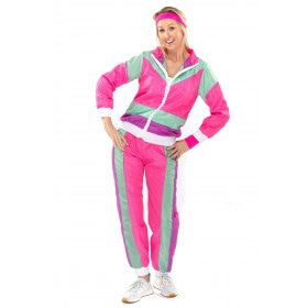 80s Roze Fout Trainingspak New Kids Jaren 80 Shirley Vrouw Kostuum