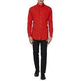 Rode Duivel Overhemd Lange Mouwen Man