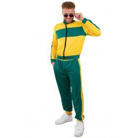 Jaren 80 Trainingspak Groen Geel Brazilie Man Kostuum