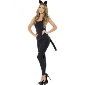 Set Oren En Staart Zwarte Kat