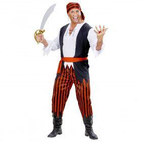 Caribische Piraat Blauwbaard Rood Zwart Wit Man Kostuum