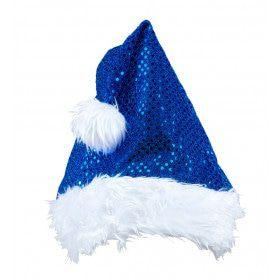 X-Mas Fever Kerstmanmuts Glitter, Blauw