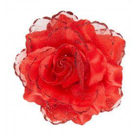 Tropische Haarclip Rode Roos Met Glitter