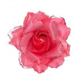 Tropische Haarclip Roze Roos Met Glitter