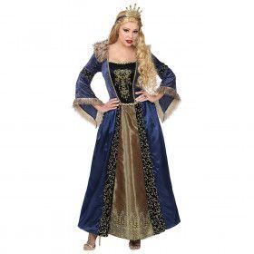 Blauwe Gouden Middeleeuwse Koningin Gabriella Von Dantzig Vrouw Kostuum