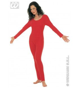 Bodysuit Dame Lange Mouwen Rood Vrouw Kostuum