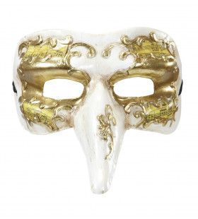 Nasone Masker Lange Neus Wit / Goud Met Muziek Noten Decoratie