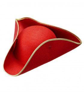Traditionele Steek Hoed Vilt Rood