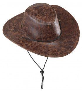Cowboyhoed Lederlook Bruin