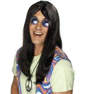 Zwarte 60s Hippie Pruik