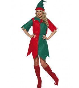 Groen-Rode Elf Vrouw Kostuum