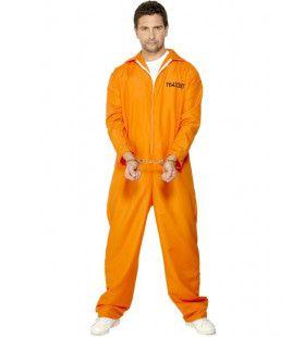 Oranje Gevangene Man Kostuum
