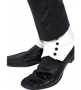 Slobkousen Wit Met Zwarte Knopen
