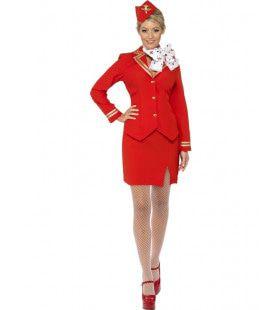 Rode Stewardess Vrouw Kostuum
