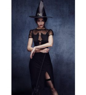 Lange Chique Heks Vrouw Kostuum
