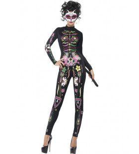 Dia De Los Muertos Catsuit Vrouw Kostuum