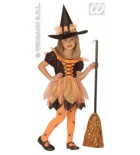 Kleine Pompoen Heks Meisje Kostuum