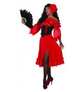 Rode Wijde Standaard Rok Vrouw