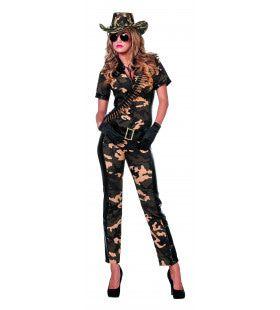 Miss Bash Soldate Leger Catsuit Met Groene Camouflage Print Vrouw Kostuum