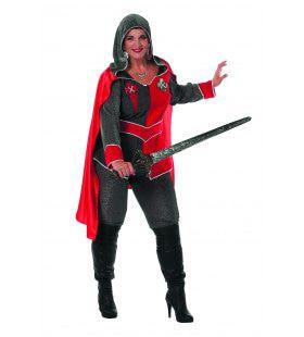 Ridders Delight Ridderdame Gwen Grijs / Rood Vrouw Plus Size Kostuum