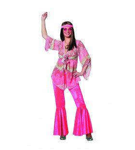 Dandy Pink Flower Power De Luxe Vrouw Kostuum