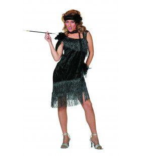 Ms 20-Black Charleston, Zwart De Luxe Vrouw Kostuum