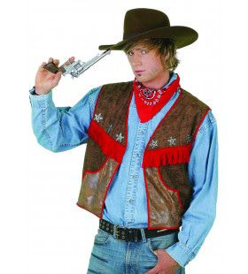 El Gringo Cowboyvest Wasleder Man Kostuum