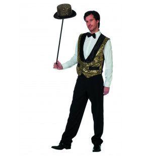 Circus Omroeper Vest Pailletten Goud