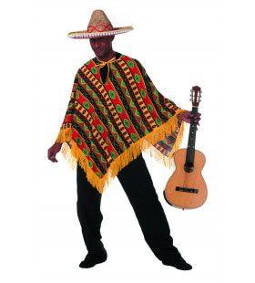 Rood-Geel-Groene Mexicaan Poncho Higuitta Man Kostuum