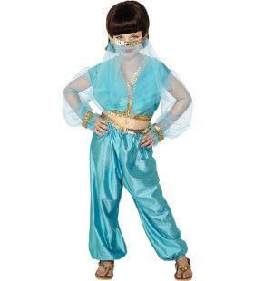 Blauw Arabische Prinses Meisje Kostuum