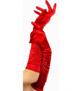 Lange Rode Handschoenen Verleidster Vrouw