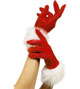 Rode Vrouwelijke Kerstman Handschoenen
