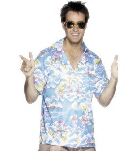 Blauw Hawaii Shirt Man Kostuum