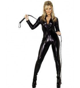 Zwarte Catsuit Vrouw Kostuum